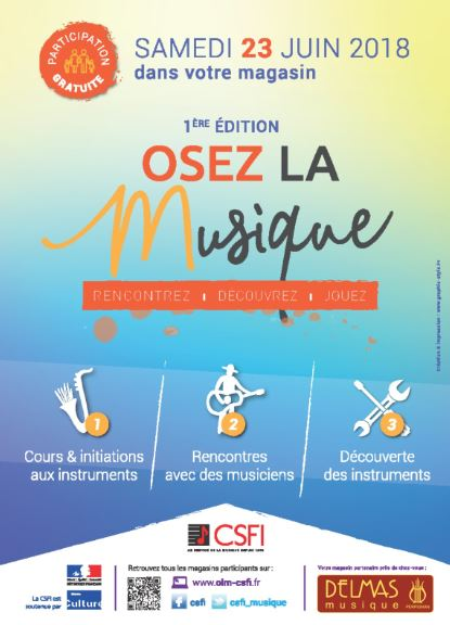 Delmas Musique OLMU-DELM Osez La Musique le 23 juin 2018 chez Delmas Musique