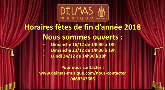 Delmas Musique COngésDELMAS-fin-2018-545x300 Ouvertures spéciales pour les fêtes de d'année 2018