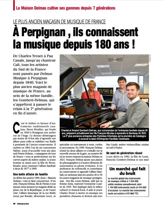 """Delmas Musique Capture-d'écran-2021-04-20-à-15.29.38 Magazine """"Entreprendre"""" Avril 2021 : Le Plus ancien Magasin de musique de France"""