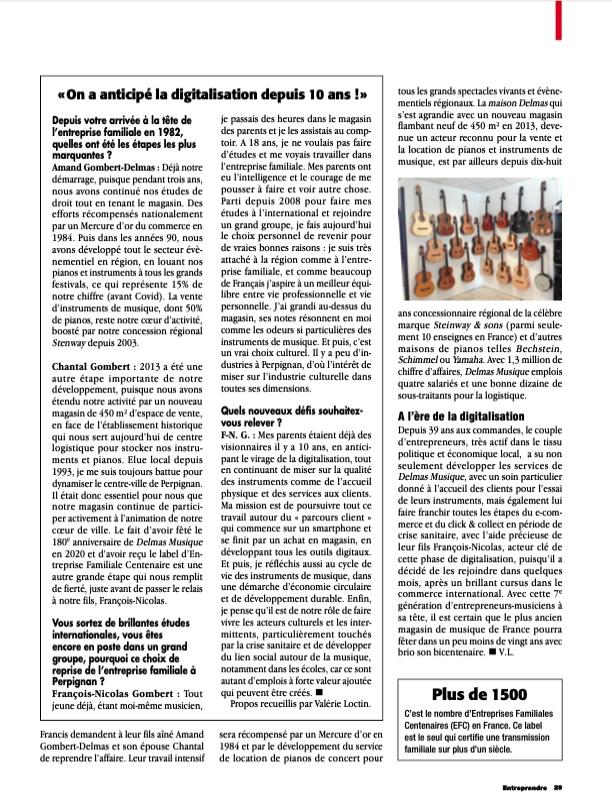 """Delmas Musique Capture-d'écran-2021-04-20-à-15.29.49 Magazine """"Entreprendre"""" Avril 2021 : Le Plus ancien Magasin de musique de France"""